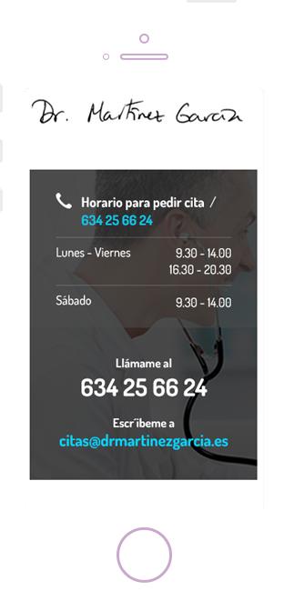 Diseño web responsive versión móvil Dr Martinez Cardiología