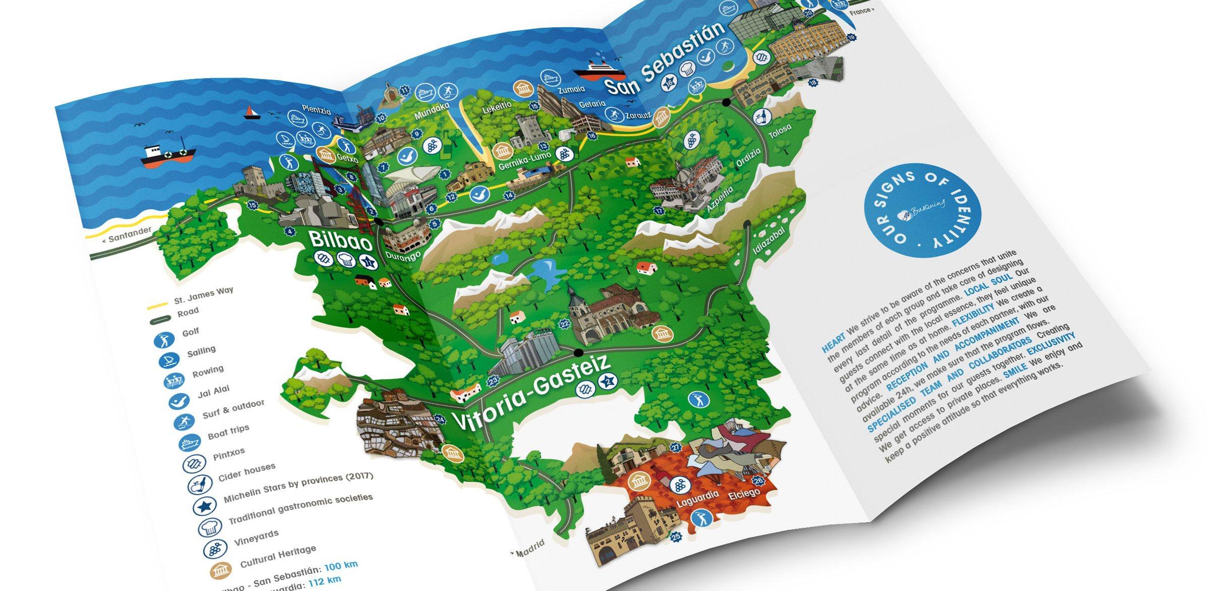 Go Basquing, mapa turístico – Diseño&Ilustración